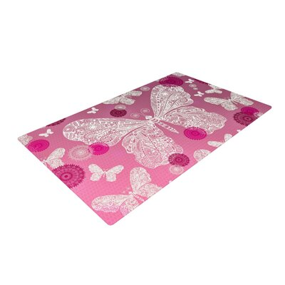 Monika Strigel Butterfly Dreams Magenta/Pink Area Rug Rug Size: 4 x 6
