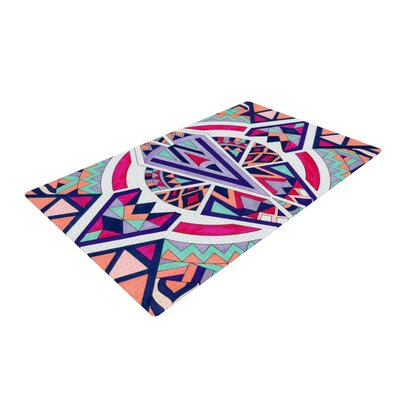 Pom Graphic Design Abstract Journey Circular Tribal Pink/Blue/Orange Area Rug