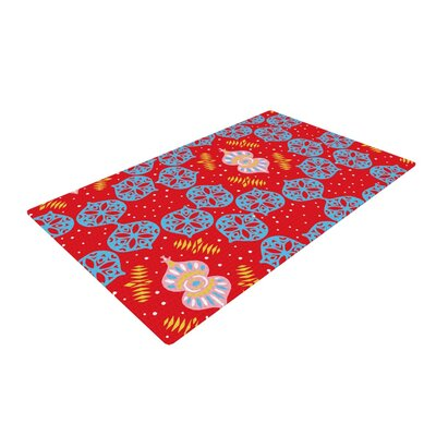 Miranda Mol Frosted Blue/Red Area Rug Rug Size: 2 x 3