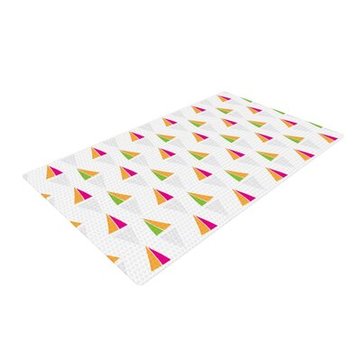 Apple Kaur Designs Triangles Orange/White Area Rug Rug Size: 4 x 6