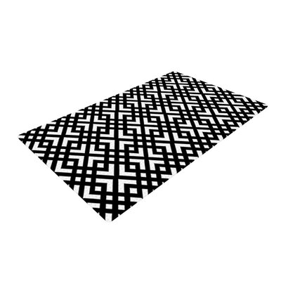 Trebam Diagonal Geometric Black Area Rug