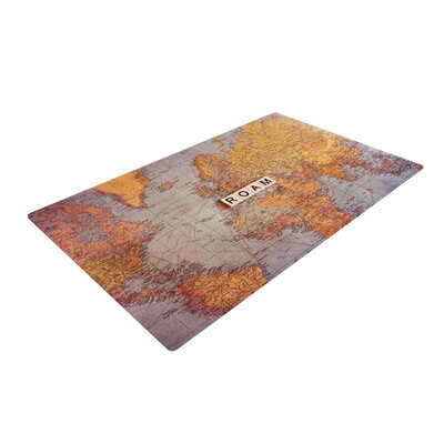 Sylvia Cook Seattle Skyline City Clouds Yellow/Gray Area Rug
