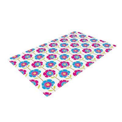 Apple Kaur Designs Lolly Flowers Blue/Pink Area Rug