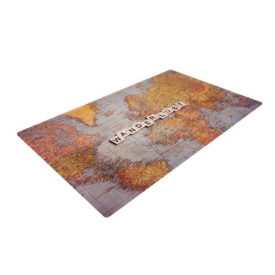 Sylvia Cook Wanderlust Map World Orange Area Rug