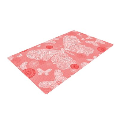 Monika Strigel Butterfly Dreams Pink/Coral Area Rug Rug Size: 2 x 3