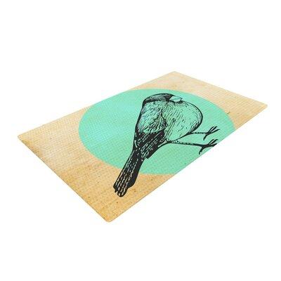 Sreetama Ray Old Paper Bird Circle Teal Area Rug