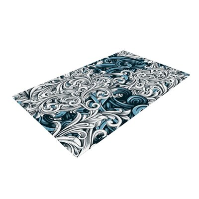 Nick Atkinson Celtic Floral II Abstract Blue Area Rug