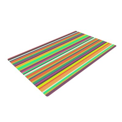 Nandita Singh Pattern Play Stripes Rainbow Area Rug Rug Size: 4 x 6