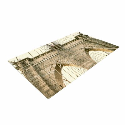 Ann Barnes Brooklyn Bridge Sunset Photography Gold Area Rug