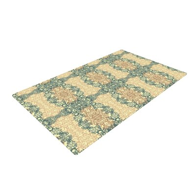 Mydeas Fancy Damask Antique Brown/Teal Area Rug