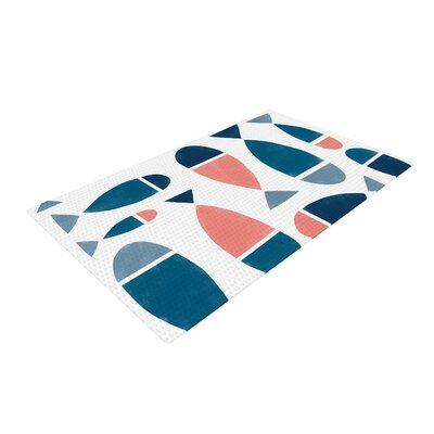 Alik Arzoumanian Fish White/Blue Area Rug Rug Size: 2 x 3