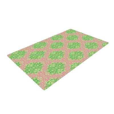 Mydeas Diamond Illusion Damask Watermelon Pink/Green Area Rug