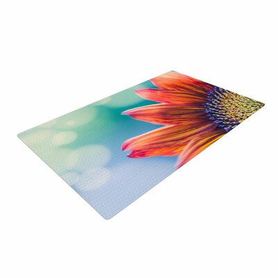 Ann Barnes Fire and Ice Flower Red/Teal Bokeh Area Rug