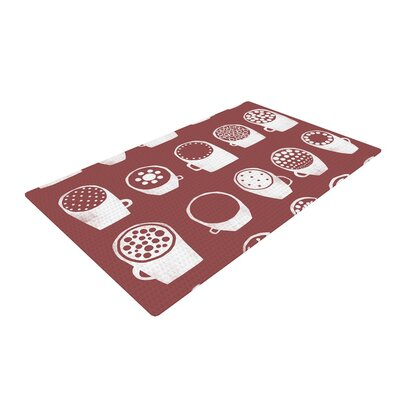 Alik Arzoumanian Coffee Ring Maroon White Area Rug Rug Size: 4 x 6