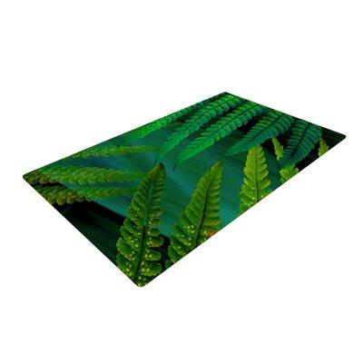 Alison Coxon Forest Fern Green Plant Crean/White Area Rug