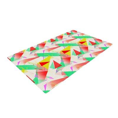 Alison Coxon Confetti Triangles Green/Red Area Rug Rug Size: 4 x 6