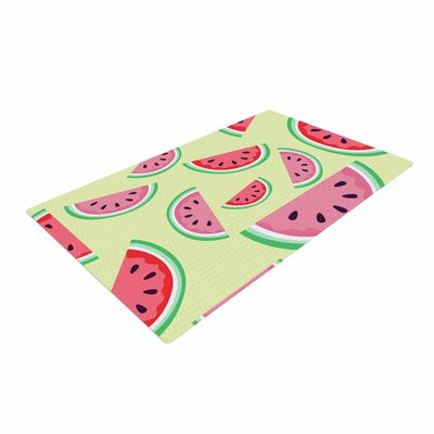 Afe Images Watermelon Background Pink Food Red/Yellow Area Rug Rug Size: 2 x 3