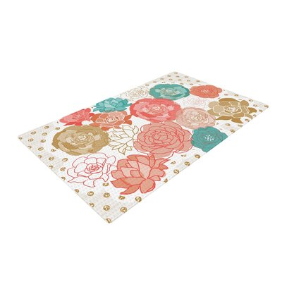 Pellerina Design Spring Florals Blush Peony Pink/Gray Area Rug Rug Size: 4 x 6