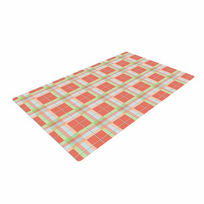 Afe Images Summer Plaid Pattern Coral Area Rug Rug Size: 2 x 3