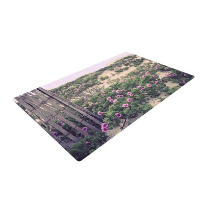 Ann Barnes Morning at the Beach Flowers Purple/Sand Area Rug