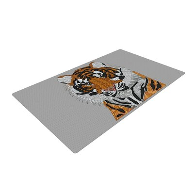 Art Love Passion Tiger Gray/Orange Area Rug Rug Size: 4 x 6