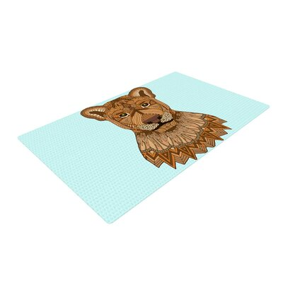 Art Love Passion Lioness Blue Brown Area Rug Rug Size: 2 x 3