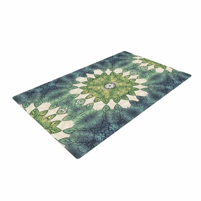 Art Love Passion Forest Leaves Repeat Geometric Green/Teal Area Rug