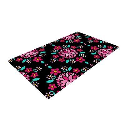 Anneline Sophia Dahlia Mandala Pink/Black Area Rug Rug Size: 4 x 6