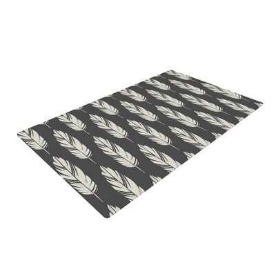 Amanda Lane Feathers Black Cream Pattern Dark Area Rug