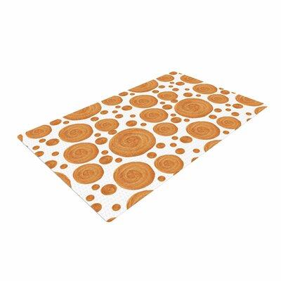 Alisa Drukman Gold Pattern Geometric Orange Area Rug Rug Size: 4 x 6