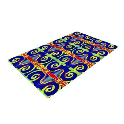 Anne LaBrie Swirl Away Blue/Red Area Rug Rug Size: 4 x 6