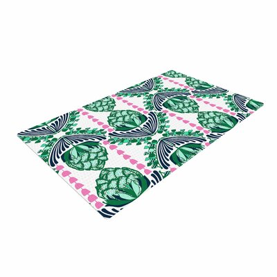 Amy Reber Tassles Illustration Green/Line Area Rug