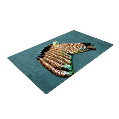 Ancello Laughing Zebra Teal Area Rug