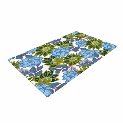 Amy Reber Blue Dahlias Floral Green Area Rug