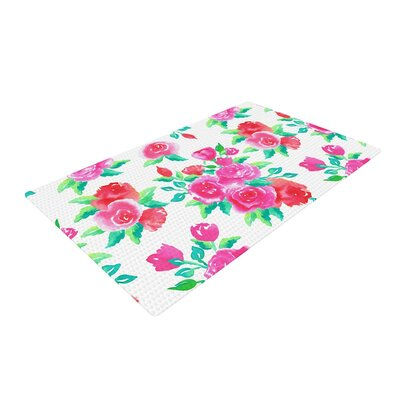 Anneline Sophia Roses Magenta Floral Pink Area Rug Rug Size: 4 x 6