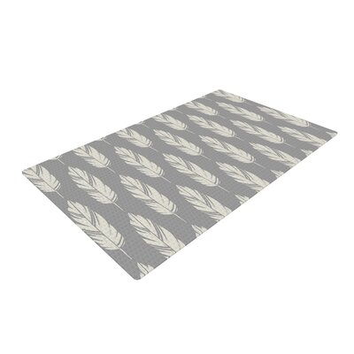 Amanda Lane Feathers Pattern Gray/Cream Area Rug Rug Size: 2 x 3