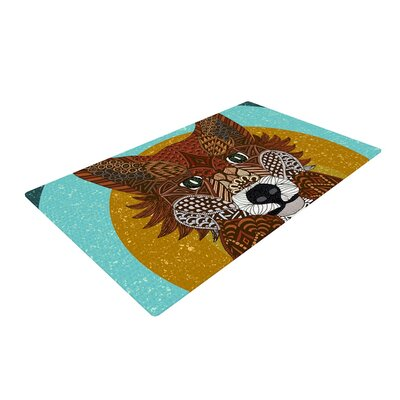Art Love Passion Colored Fox Blue/Orange Area Rug Rug Size: 4 x 6