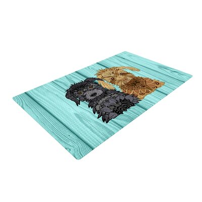 Art Love Passion Daisy and Gatsby Abstract Puppies Green/Black/Gold Area Rug