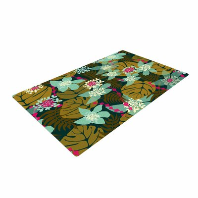 Amy Reber Green Tropical Tropical Floral Brown/Blue Area Rug