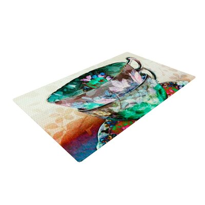 alyZen Moonshadow Mad Hatters T Party III Abstract Cream/Green Area Rug