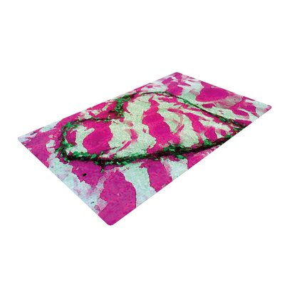 Anne LaBrie Pink Tiger Love Pink/Green Area Rug