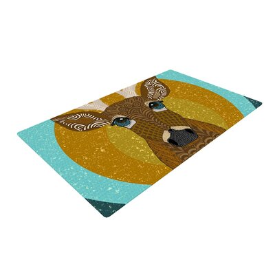Art Love Passion Stag Yellow/Blue Area Rug Rug Size: 4 x 6