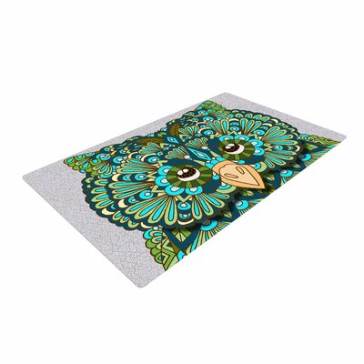 Art Love Passion Great Green Owl Teal/Gray Area Rug