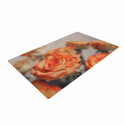 Angie Turner Roses Floral Orange Area Rug