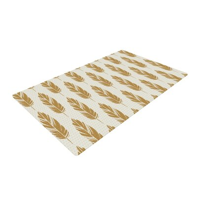 Amanda Lane Feathers Mustard Pattern Cream/Brown Area Rug Rug Size: 4 x 6