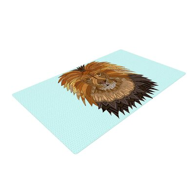 Art Love Passion Lion Blue/Brown Area Rug Rug Size: 2 x 3