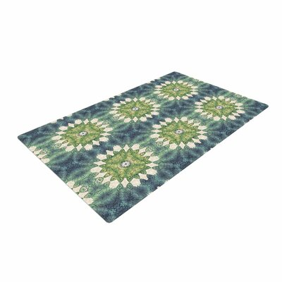 Art Love Passion Forest Leaves Pattern Geometric Green Area Rug Rug Size: 4 x 6