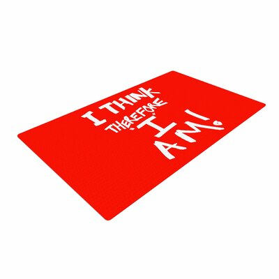 Bruce Stanfield I Think, Therefore I Am RED Typography White Area Rug