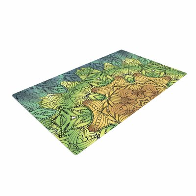 Art Love Passion Celtic Golden Flower Geometric Green/Yellow Area Rug