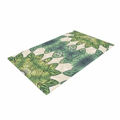 Art Love Passion Forest Leaves Celtic Abstract Green/Teal Area Rug